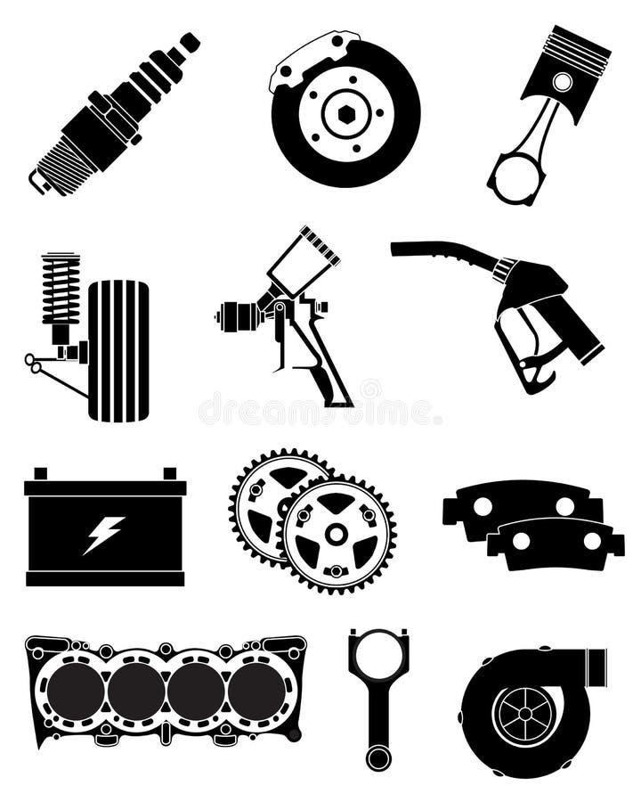 Car parts icons set stock illustration