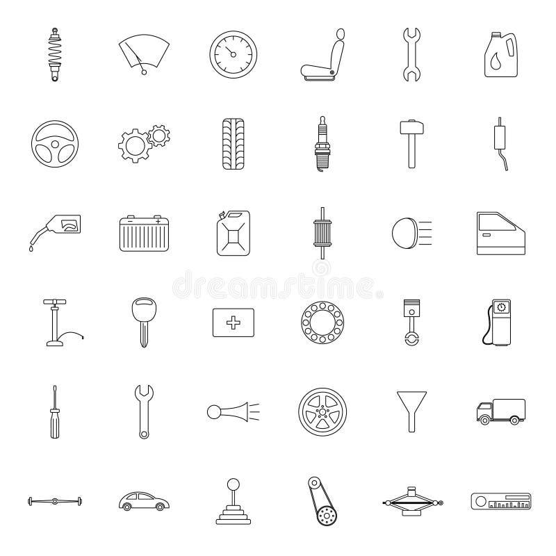 Car parts. Icons set. royalty free illustration