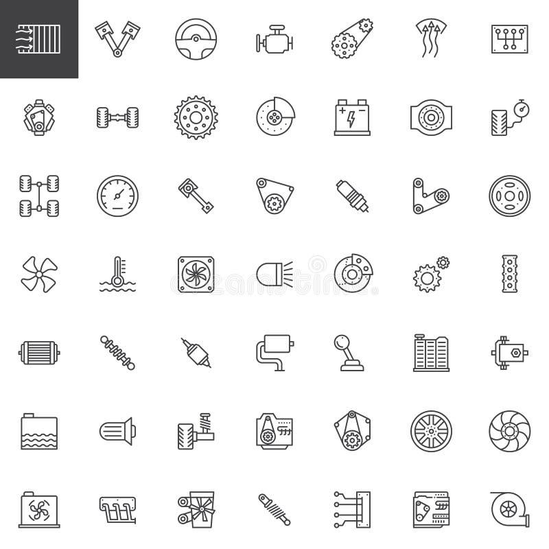 Car parts line icons set royalty free illustration