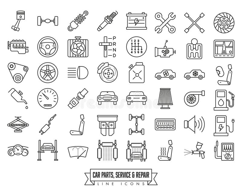 Car parts, service and repair line icon set vector illustration