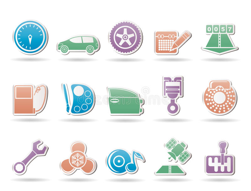 Car parts, services and characteristics icons stock illustration