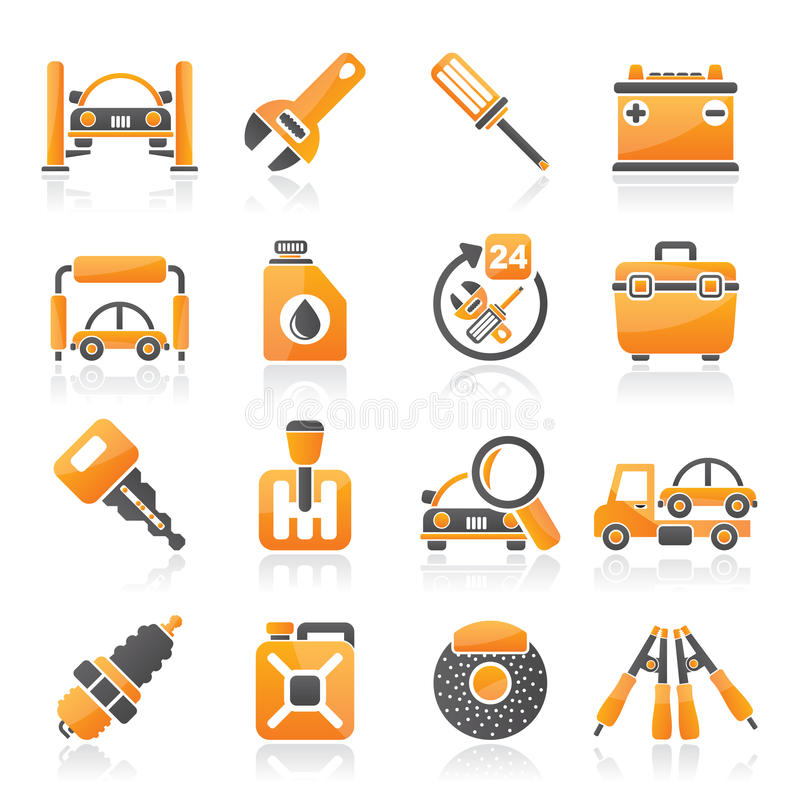 Car parts and services icons vector illustration