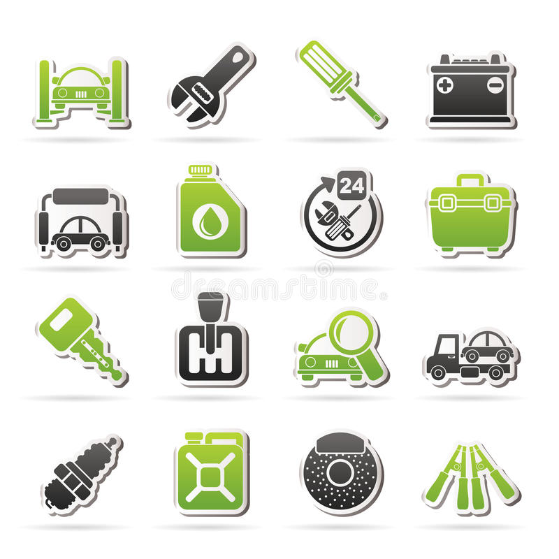 Car parts and services icons royalty free illustration