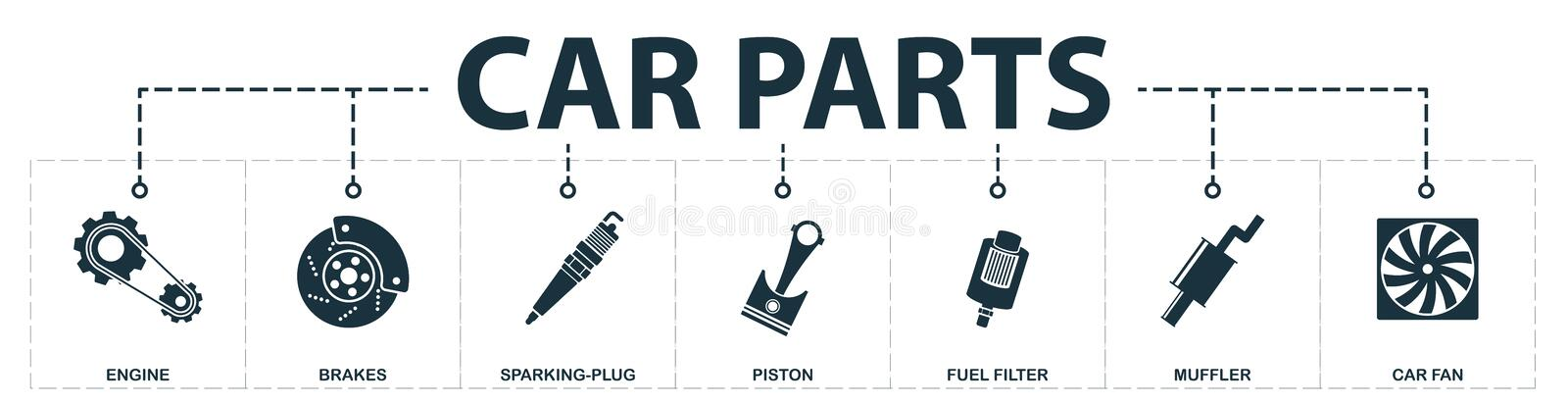 Car Parts set icons collection. Includes simple elements such as engine, brakes, sparking-plug, piston, fuel filter, muffler, car. Fan premium icons stock illustration