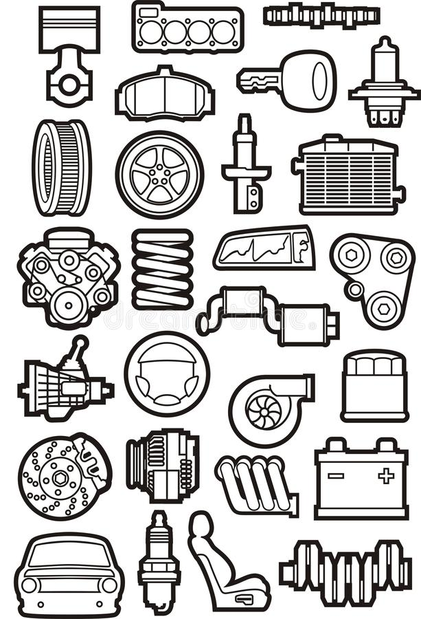Car parts set royalty free illustration
