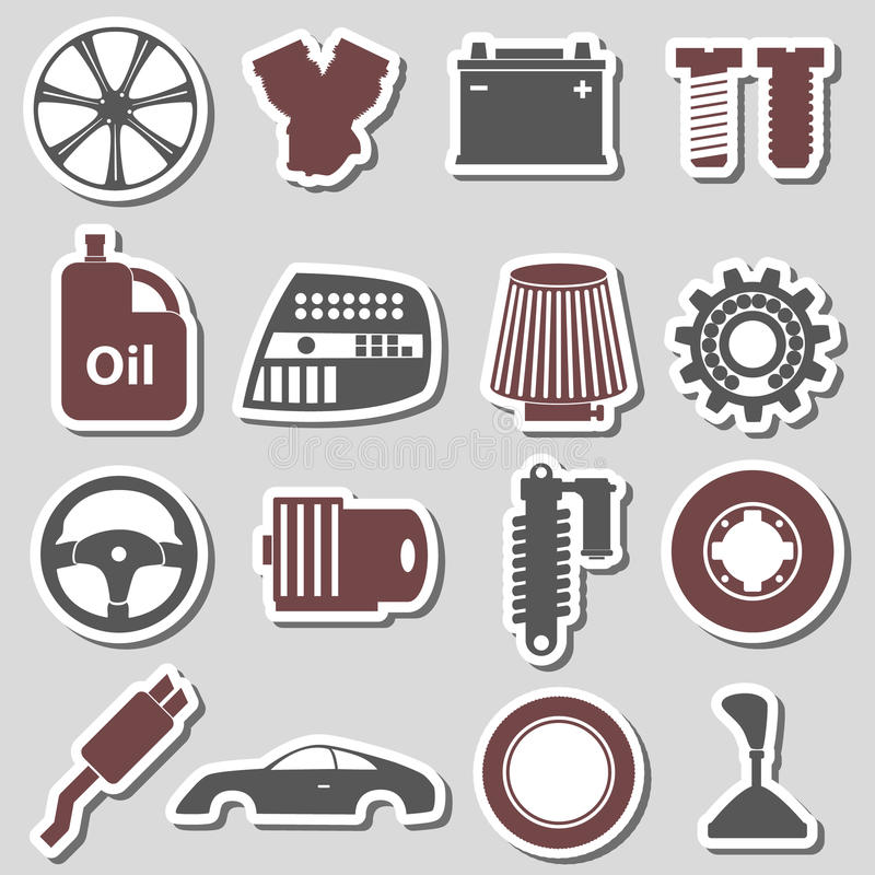 Car Parts Store Simple Stickers Set Eps10 Stock Vector ...