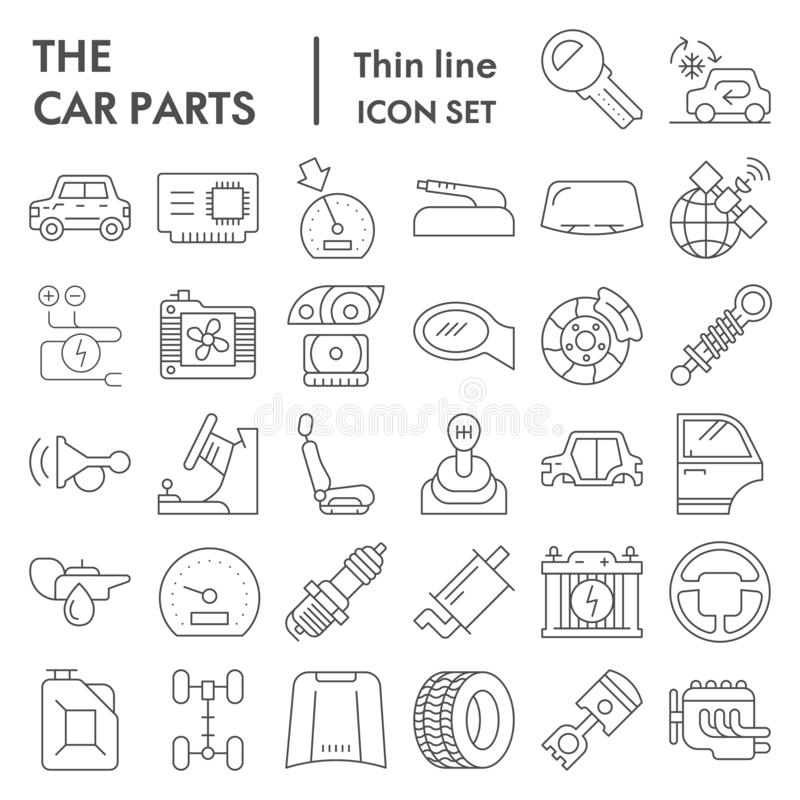 Car parts thin line icon set, automobile details symbols collection, vector sketches, logo illustrations, vehicle signs vector illustration