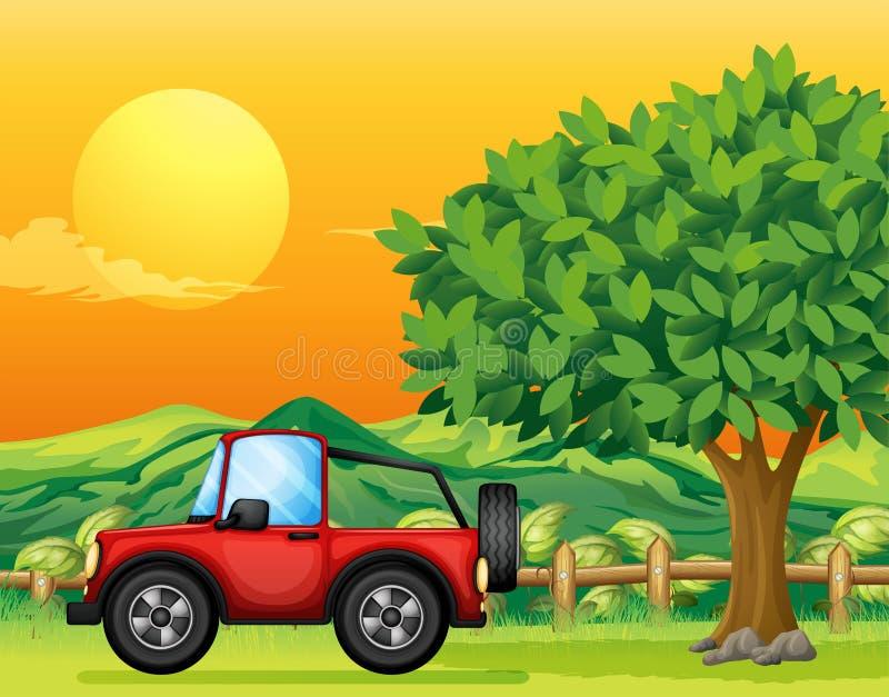 A car passing at the bridge vector illustration