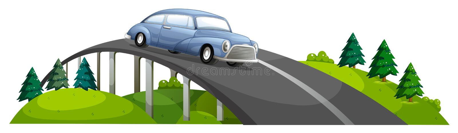 A car passing over the bridge royalty free illustration