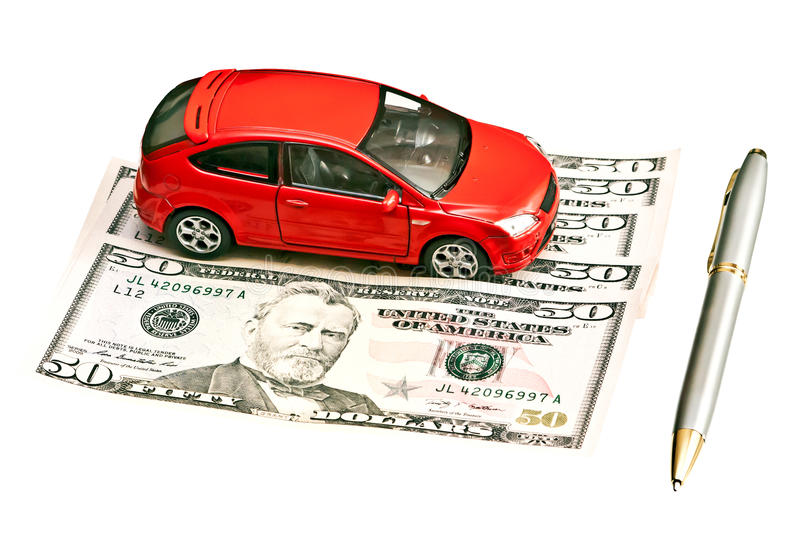 Car, pen and money. Concept for buying, renting, insurance, fuel, service and repair costs stock image