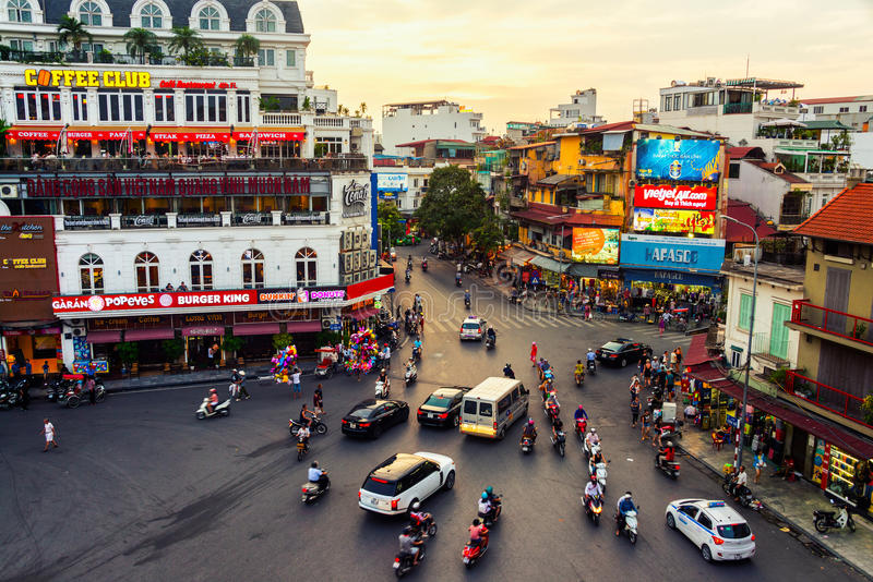 Car and people traffic in Hanoi, Vietnam royalty free stock image