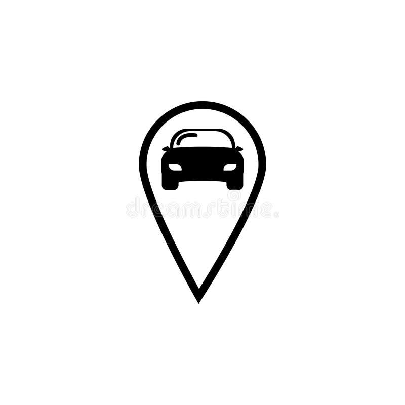 Car Pin Logo icon. On white background vector illustration