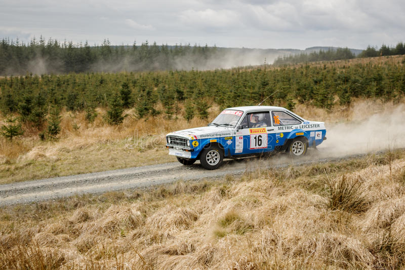 Car at Pirelli International Rally. Wark, UK - April 29, 2017: Rally car taking part in the Pirelli International Rally 2017 Historic Section. Driver Barry royalty free stock images