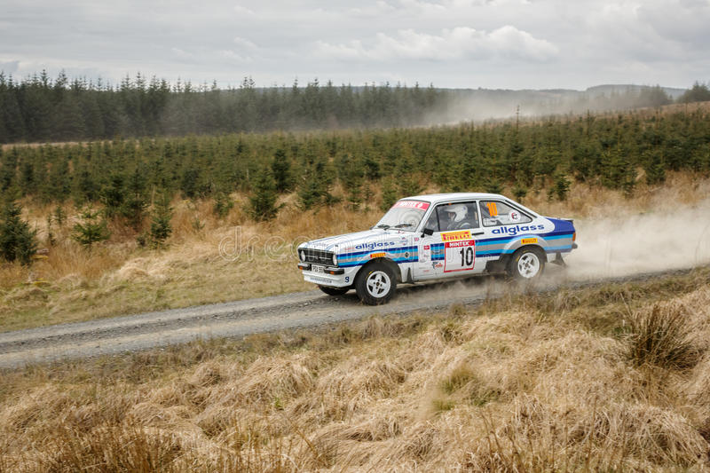 Car at Pirelli International Rally. Wark, UK - April 29, 2017: Rally car taking part in the Pirelli International Rally 2017 Historic Section. Driver Ben Friend stock images