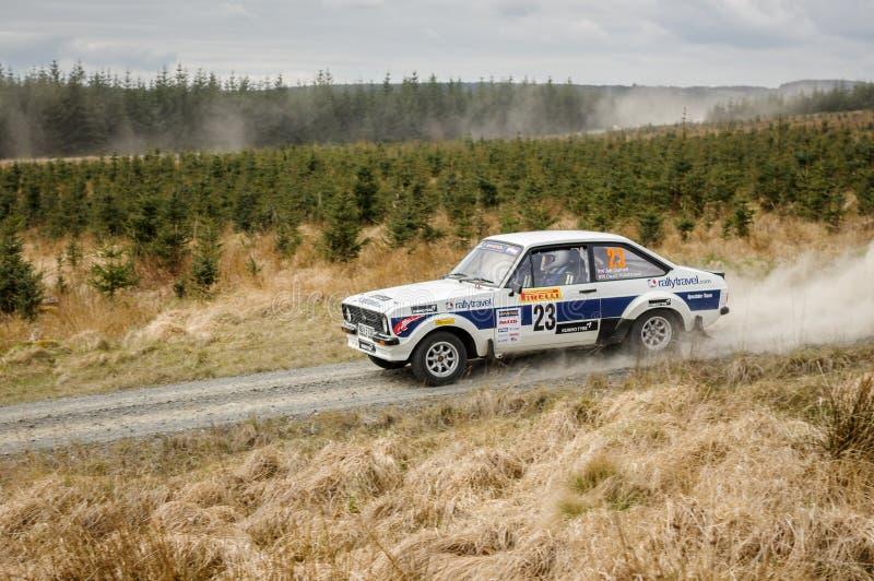 Car at Pirelli International Rally. Wark, UK - April 29, 2017: Rally car taking part in the Pirelli International Rally 2017 Historic Section. Driver David stock images