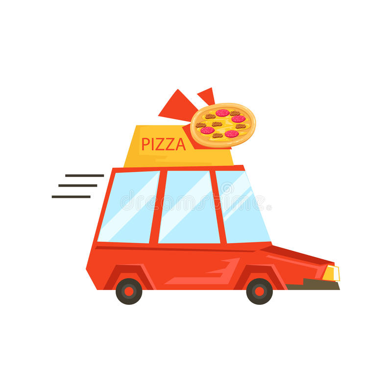Car With Pizza Sign Delivering Food, Part Of Italian Fast Food Cuisine Restaurant Takeout Delivery Service Collection Of. Illustrations. Cartoon Vector Colorful vector illustration