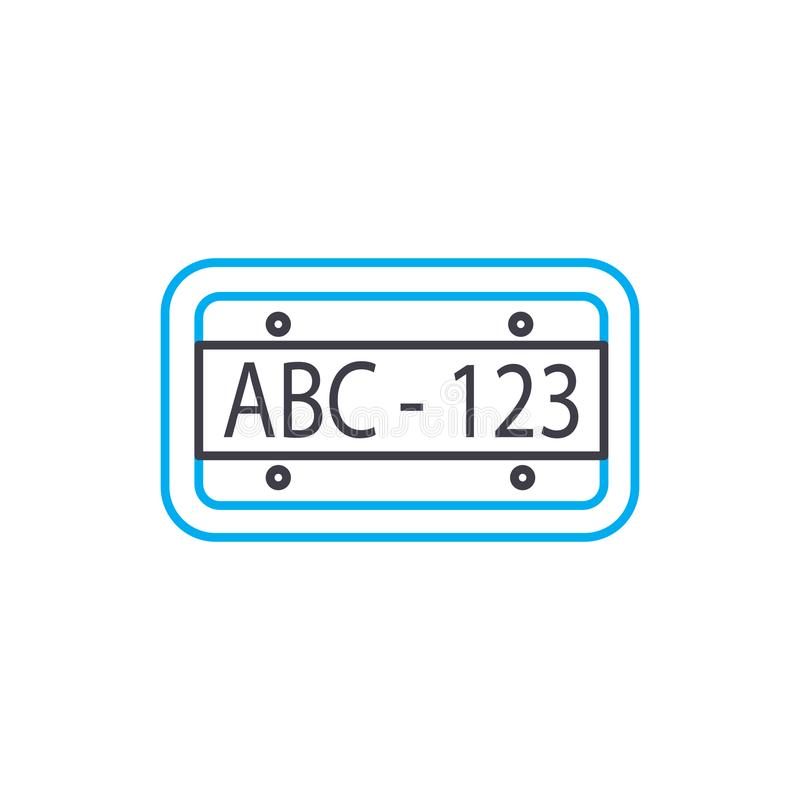 Car plate vector thin line stroke icon. Car plate outline illustration, linear sign, symbol concept. royalty free illustration