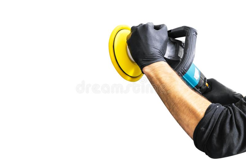 Car polish wax worker hands holing polishing tools on white background. Buffing and polishing car concept. Man holds a po. Lisher in the hand and polishes stock images