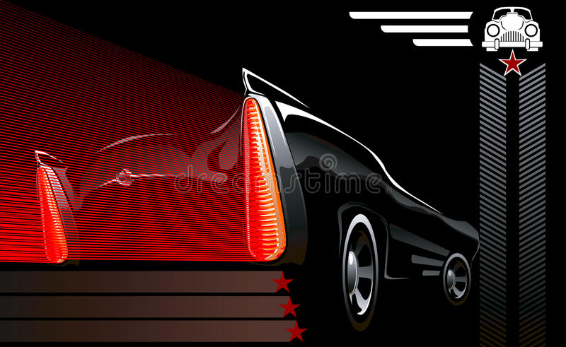 Car poster with decorative auto stock illustration