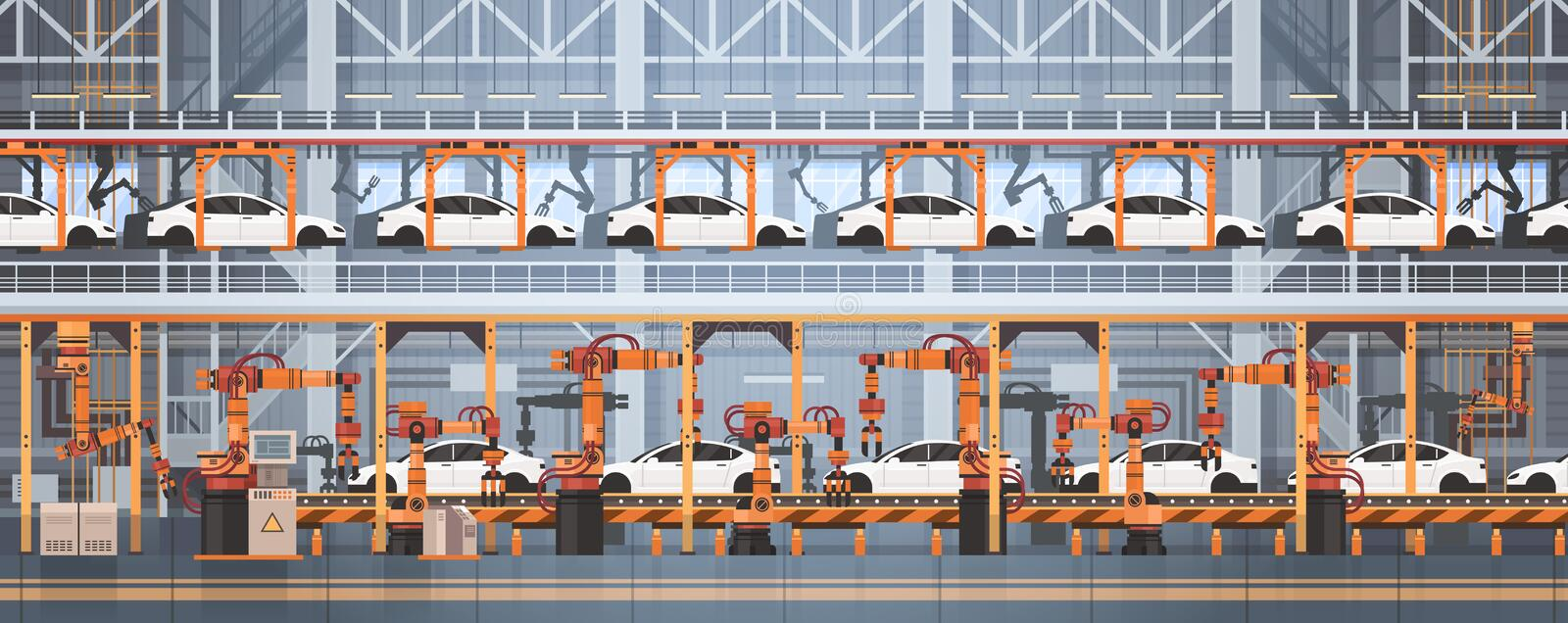 Car Production Conveyor Automatic Assembly Line Machinery Industrial Automation Industry Concept royalty free illustration