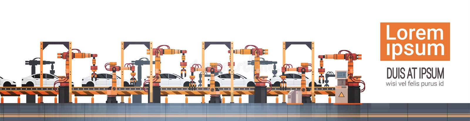 Car Production Conveyor Automatic Assembly Line Machinery Industrial Automation Industry Concept. Flat Vector Illustration vector illustration