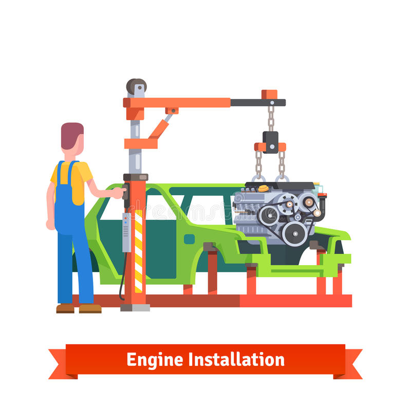 Car production line or repair shop vector illustration