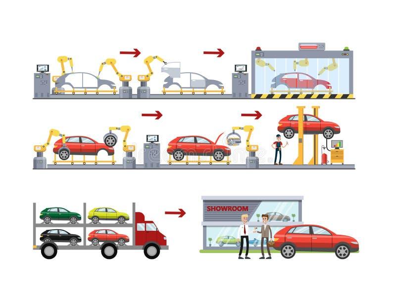 Car production set. Car production line set on white background vector illustration