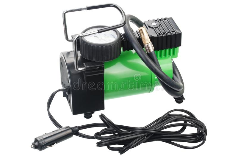 Car pump with manometer, air compressor on white stock image