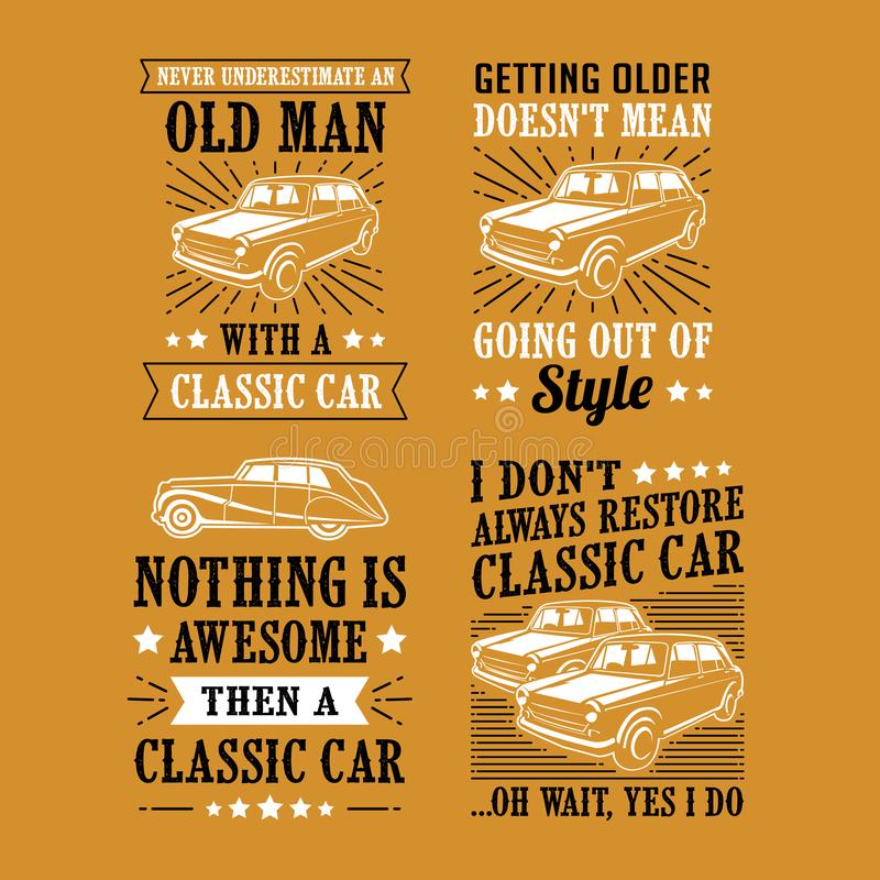 Car Quote Saying, vector best for print design like t-shirt, mug, frame and other. Car Quote Saying Set, vector best for print design like t-shirt, mug, frame royalty free stock image