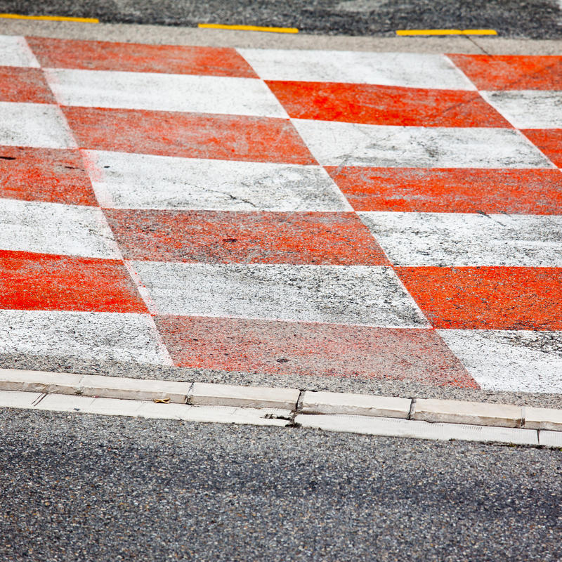 Car race asphalt. And curb on Monaco Montecarlo Grand Prix street circuit stock images