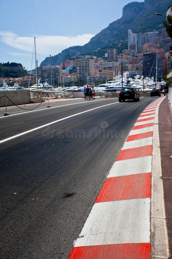 Car race asphalt. And curb on Monaco Montecarlo Grand Prix street circuit stock photography
