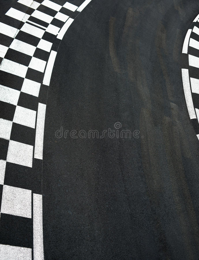 Car race asphalt on Grand Prix street track. Car race asphalt and chess curb on Grand Prix street track stock photo