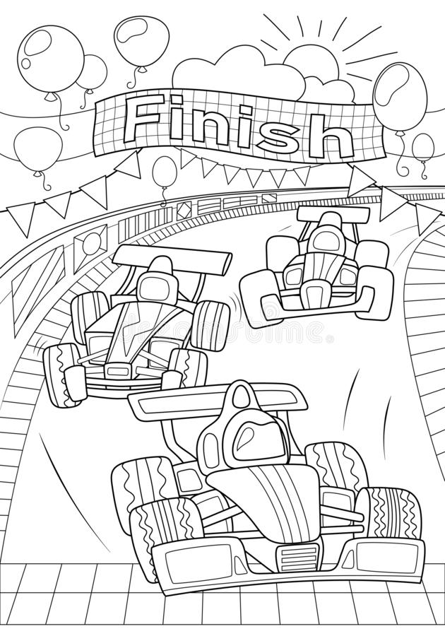 Free Car Race Coloring Page. Formula 1 Black Line Vector Illustration On White Background. Speed Car On Finish. Racing Car Stock Image - 159630391