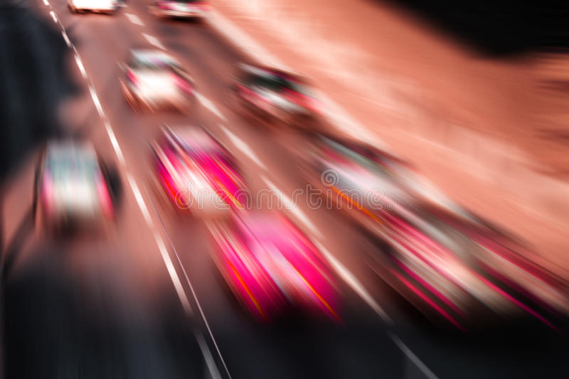 Car race. On a highway stock photo