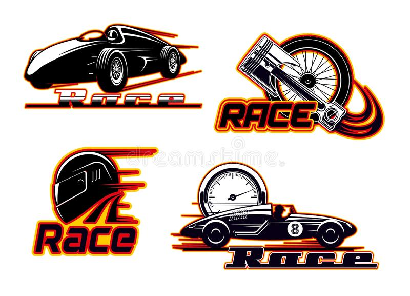 Car races, motor speed racing, auto engine icons. Car races, motor street racing fire flame icons. Vector sportcar bolid, engine piston valve and tire wheel in stock illustration