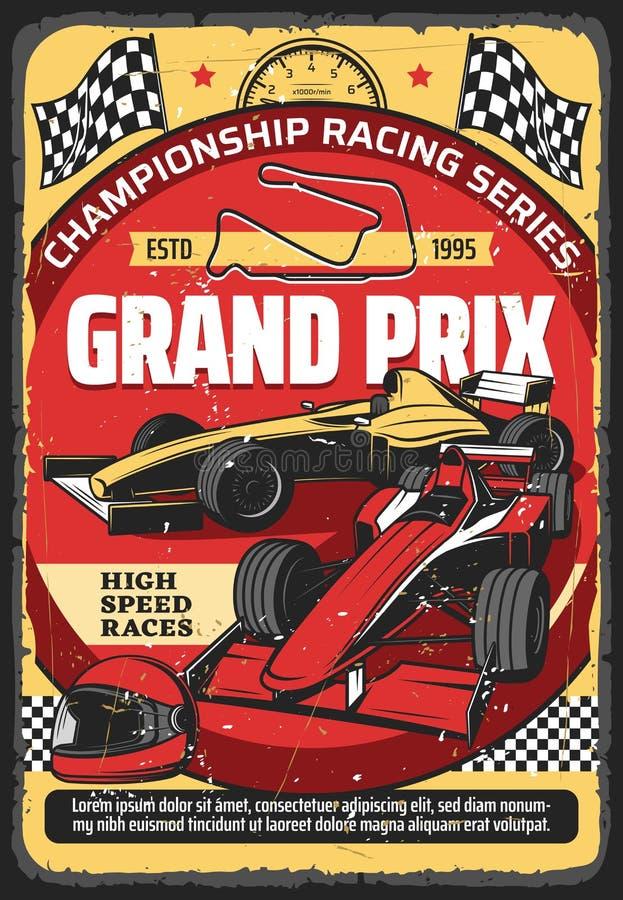 Free Car Races Retro Poster, Vintage Auto Rally Sport Stock Photos - 187819153