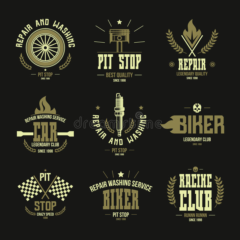 Car races and service badges and logo royalty free illustration