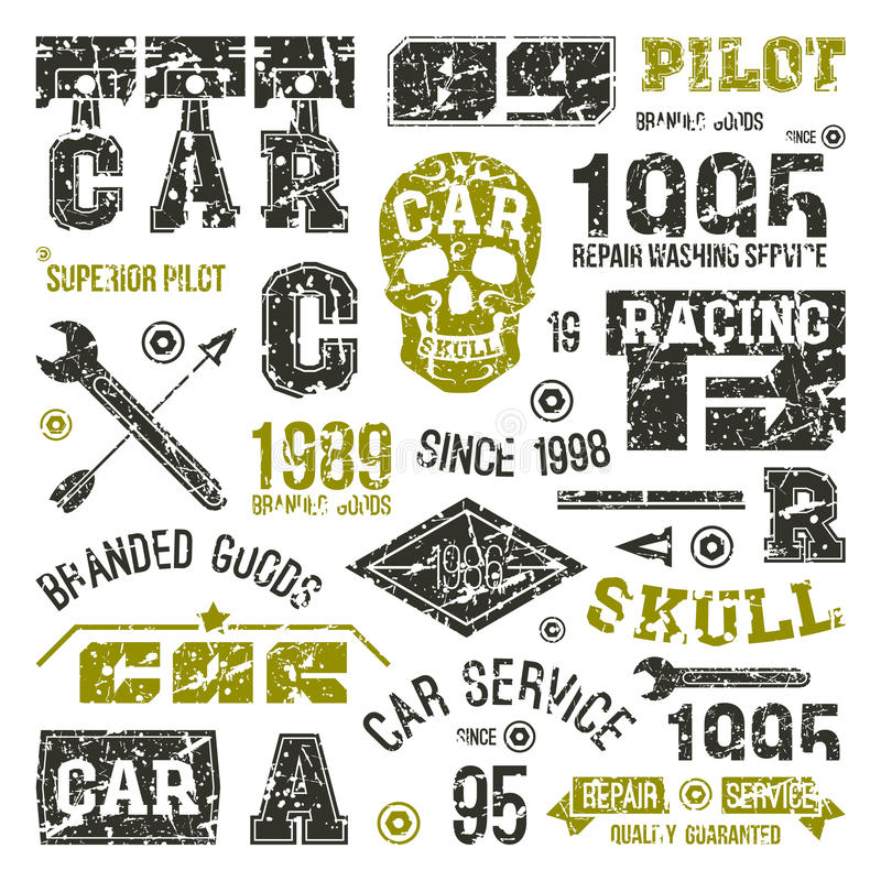 Download Car Races And Service Badges Stock Vector