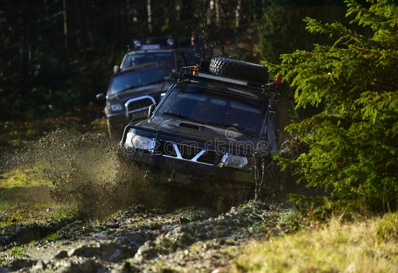 Car racing in autumn forest. Competition, energy and motorsport concept Auto racing on fall nature background. Off road. Car racing in autumn forest. Competition stock images