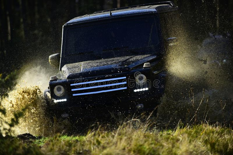 Car racing in autumn forest. Offroad race on fall nature background. Extreme, challenge and 4x4 vehicle concept. SUV or. Offroad car on path covered with grass stock photo