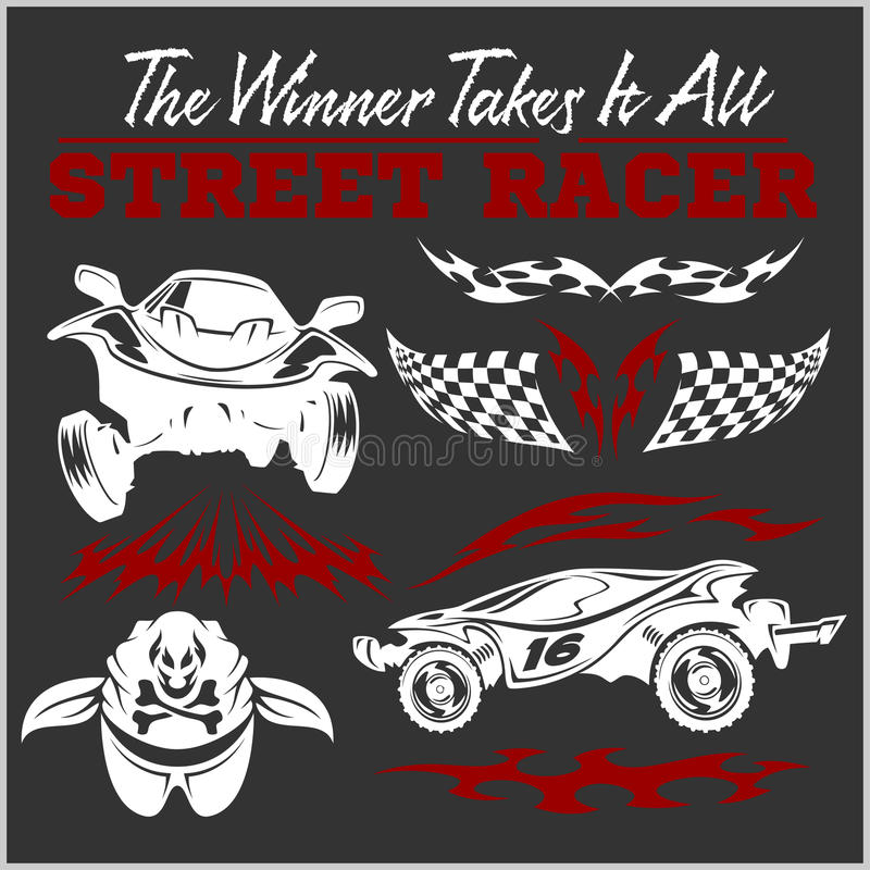 Car racing badges and elements. Graphic design for t-shirt. Car racing badges and design elements in retro style. Graphic design for t-shirt vector illustration