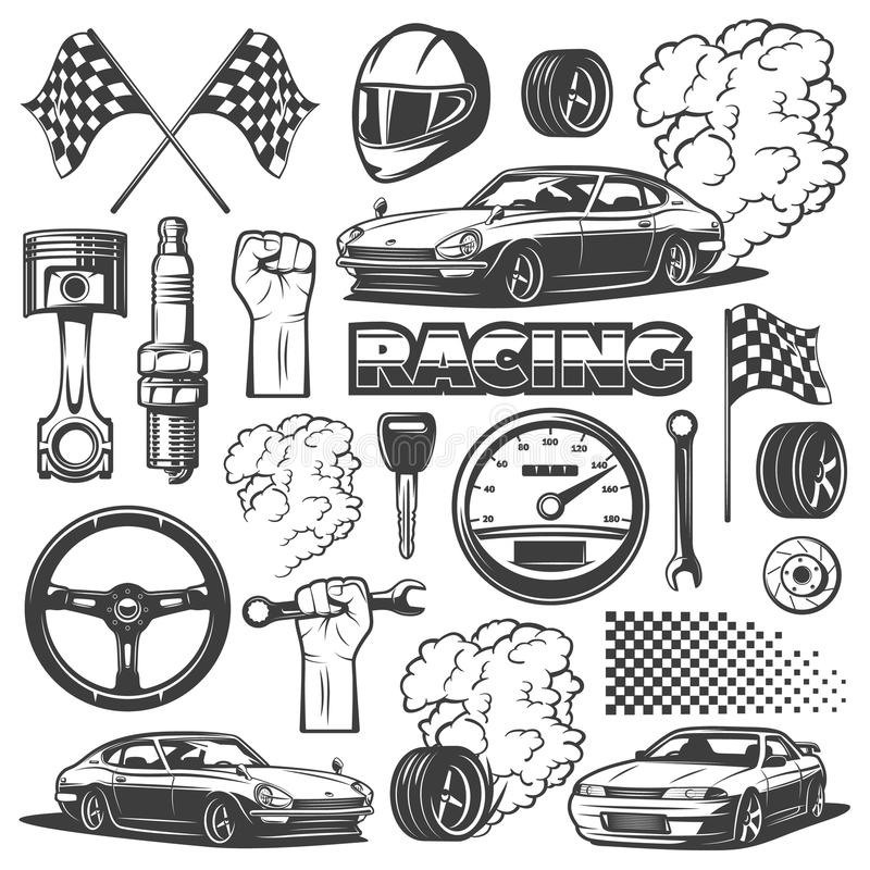 Car racing black isolated monochrome icon set with objects and attributes of automobile, vector illustration. Racing royalty free illustration