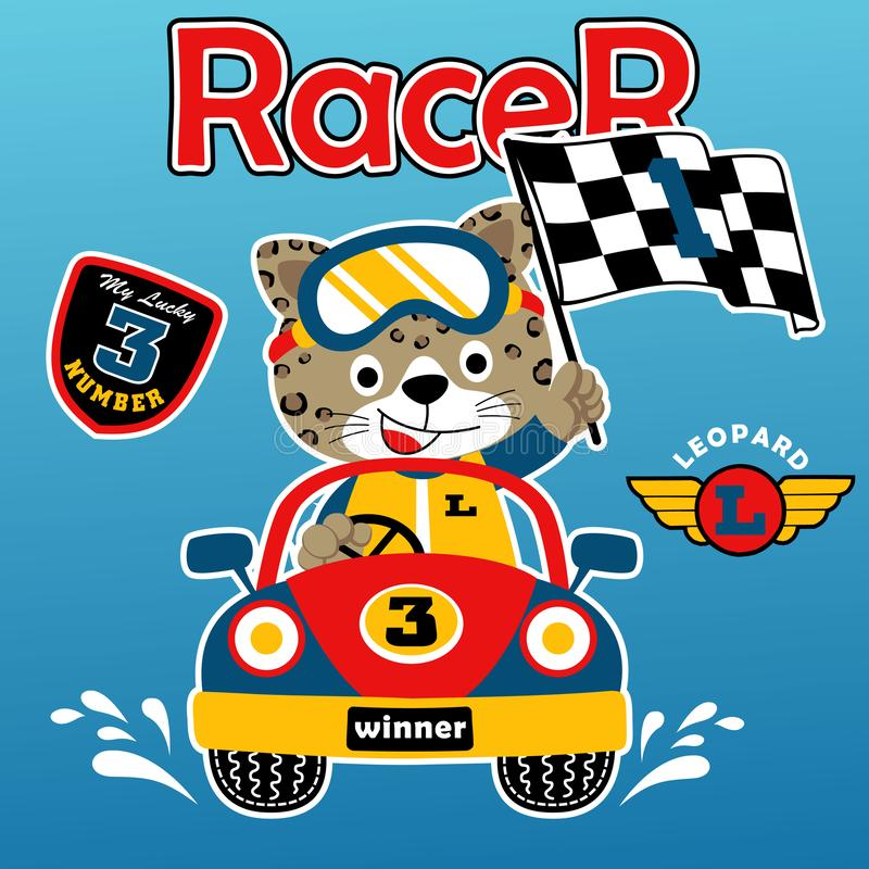 Car racing cartoon with happy racer. Vector cartoon illustration, no mesh, eps 10 royalty free illustration