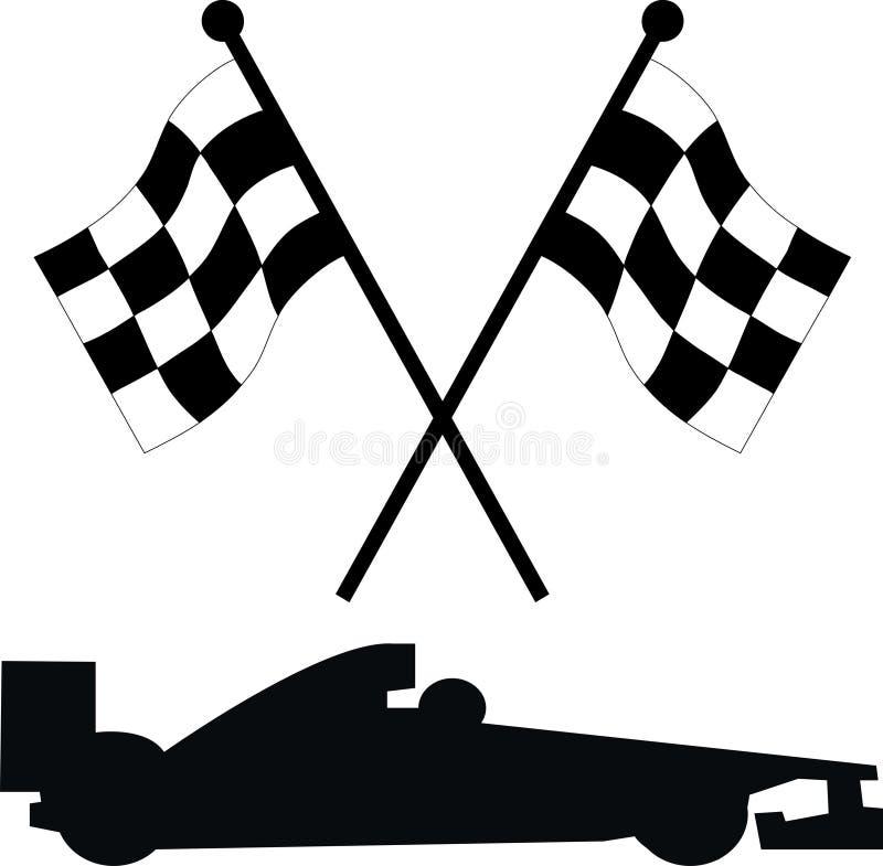 Car racing flags. Racing flags with a racing car stock illustration