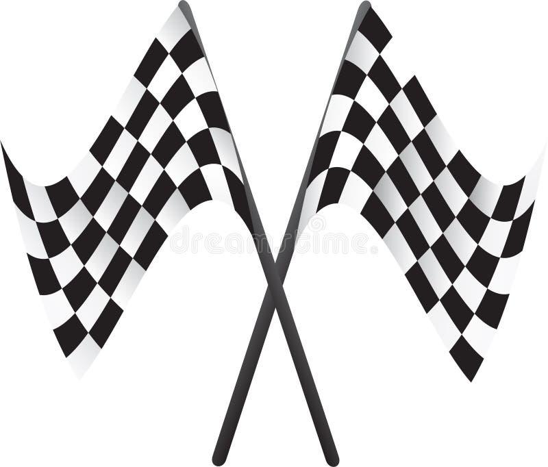 Car racing flags. Crossed car racing flags illustration stock illustration