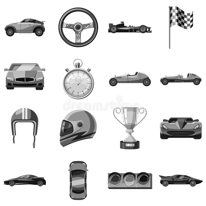 Car racing icons set, gray monochrome style stock illustration