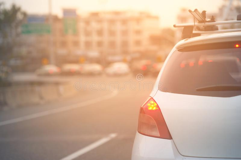 Car rack on roof with sun flare stock images