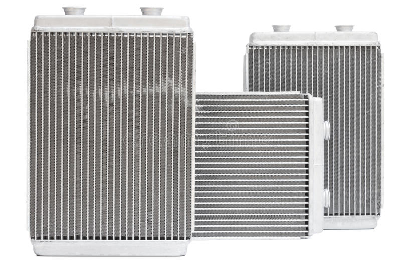 Car radiators. Various automobile radiators for engine cooling systems for air conditioning, for heating the passenger compartment, for cooling the oil in an stock photos