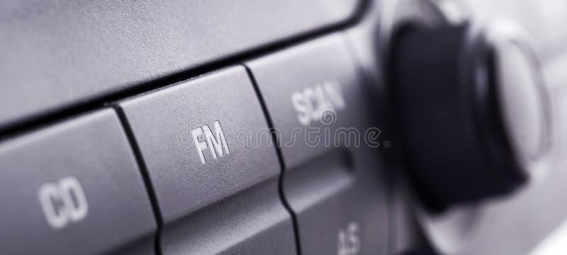Car radio. Closeup of a car radio panel stock images