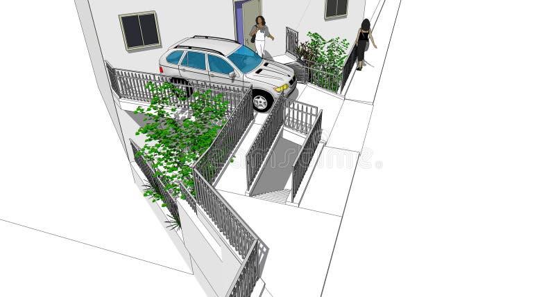 Car and railings stock illustration